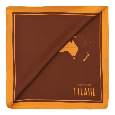 Alviero Martini 義大利地圖 經典地圖撞色絲巾(50X50)-棕色