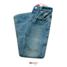Anny休閒靛藍刷色愛心車縫造型牛仔褲*1420藍