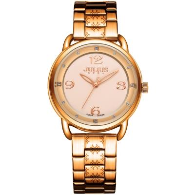 JULIUS聚利時 光采時刻點鑽鋼帶腕錶-古銅金/33mm