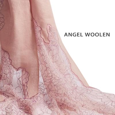 Angel-Woolen-花妍漫舞Pashmina印度手工蕾絲披肩-圍巾