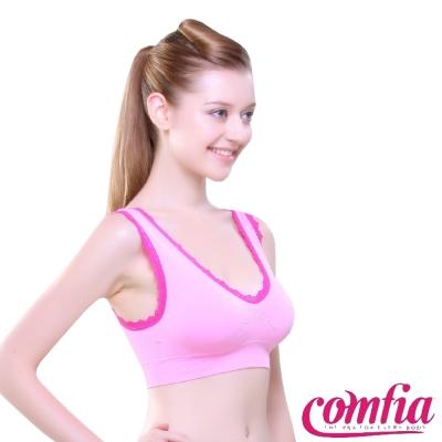 運動內衣 無痕雙色蕾絲款-粉紅色 COMFIA康裴亞