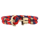 PAUL HEWITT 德國出品 PHREP 深藍紅尼龍繩編織 古銅船錨 單圈手環