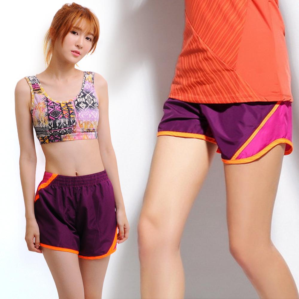 修身褲 快乾拼接顯瘦短褲-紫拼桃 LOTUS