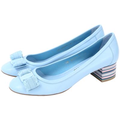 Salvatore Ferragamo Elvin40蝴蝶結彩條紋粗跟鞋(天空藍)