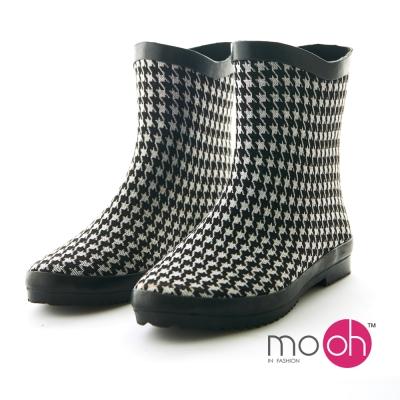 mo.oh 愛雨天-千鳥紋柔軟v口可折短筒雨鞋