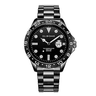 ELLE 時尚晶鑽不鏽鋼腕表-黑色/45mm