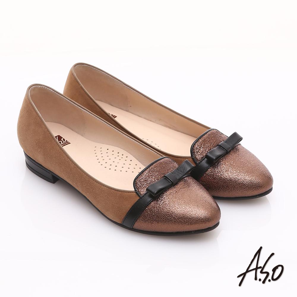 A.S.O 減壓美型 全真皮絨面金箔低跟鞋 古銅