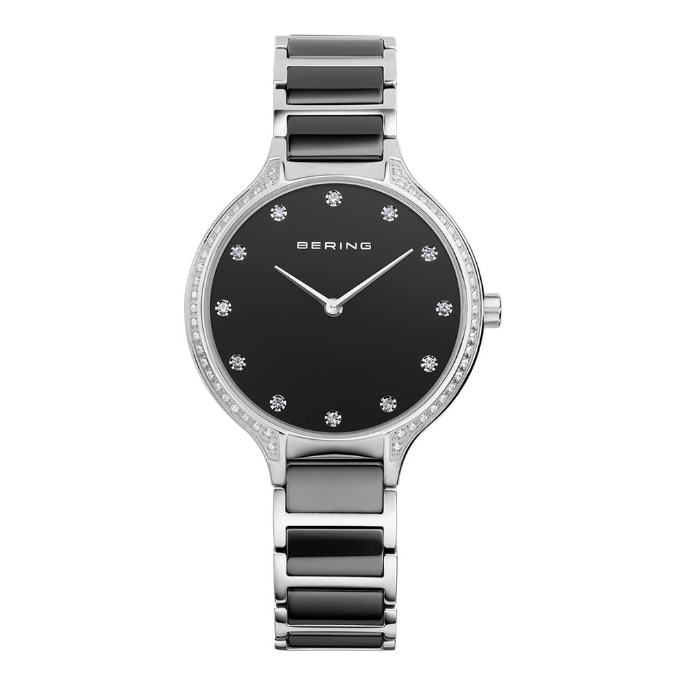 BERING-錶 閃耀晶鑽陶瓷系列 藍寶石鏡面 銀x黑 34mm
