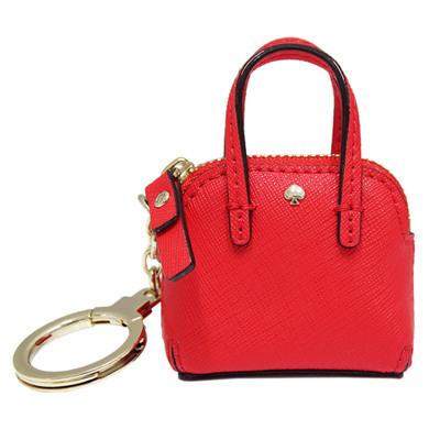 Kate spade 防刮牛皮包包造型鑰匙圈/掛飾-鮮紅