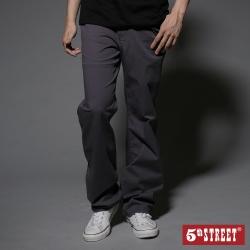 5th STREET 基本休閒直筒褲-男-中灰色