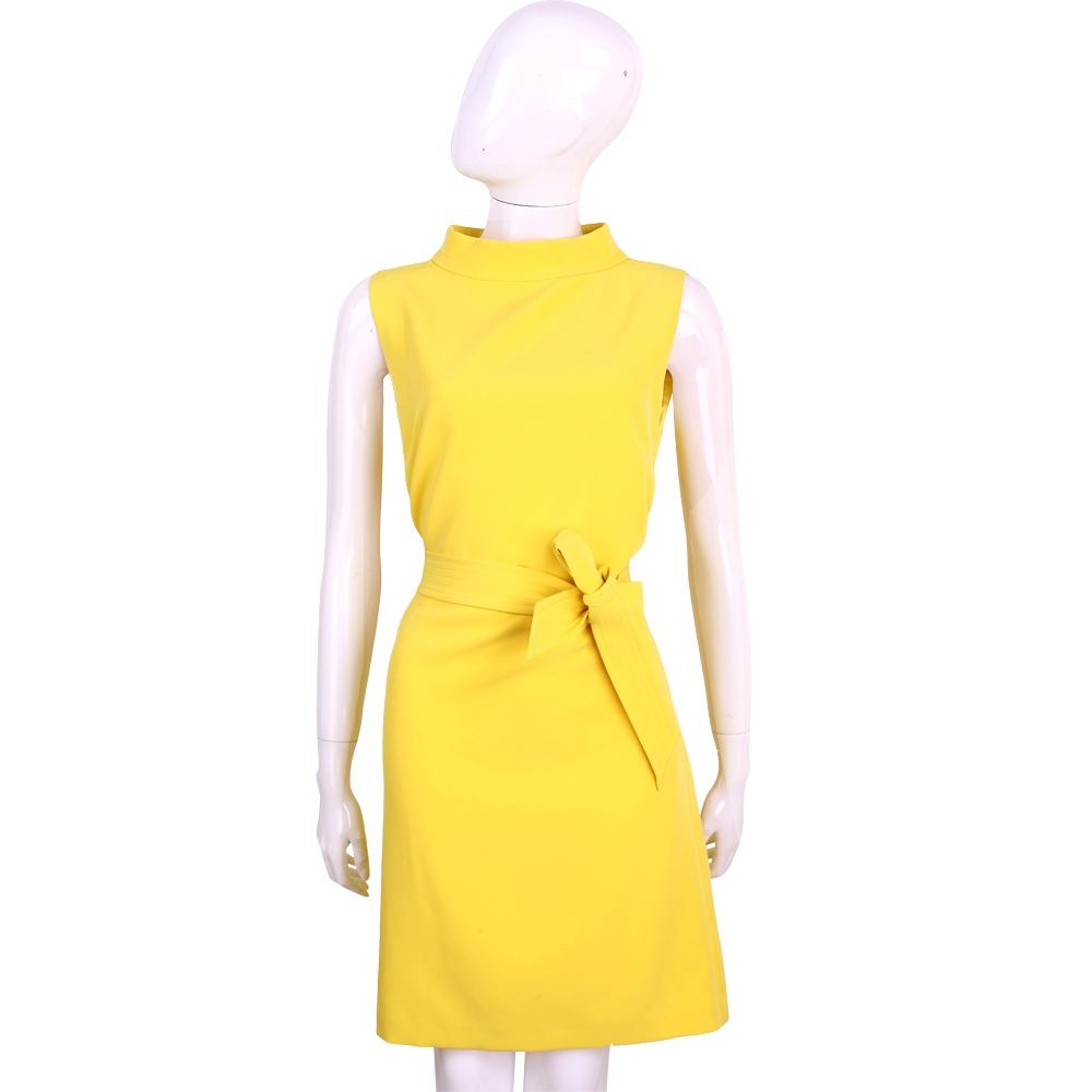 BLUGIRL 黃色素面小立領無袖綁帶洋裝