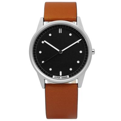 HyperGrand Classic Honey 極簡工業風真皮手錶-黑x咖啡/38mm