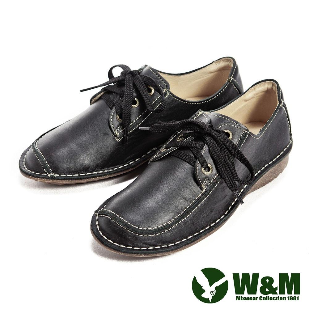 W&M 完美線條綁帶中性休閒鞋-黑
