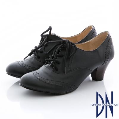 DN-英倫魅力-MIT雕花綁帶牛津粗跟鞋-黑