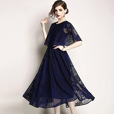 蕾絲刺繡斗篷袖禮服長裙洋裝-M-2XL(共三色)-M2M