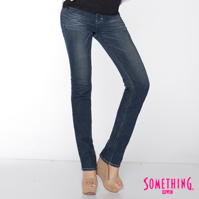 【SOMETHING】知性印象  NEO超合身窄直筒牛仔褲-女款(拔洗藍)