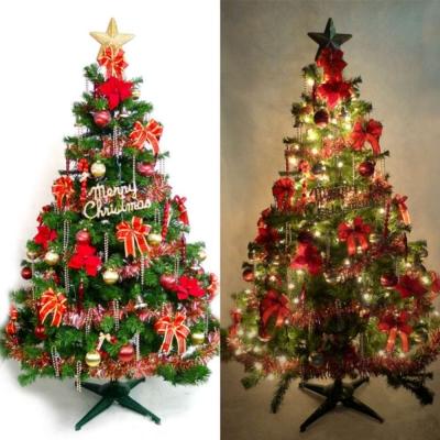 台製6尺(180cm)豪華版綠聖誕樹(紅金色系)+100燈鎢絲清光2串