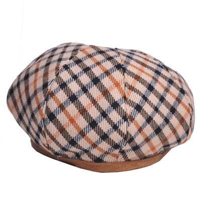 DAKS 優雅格紋LOGO羊毛貝蕾帽(卡其格)