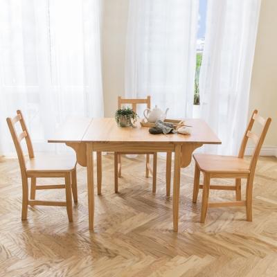 CiS自然行實木家具- 北歐雙邊延伸實木餐桌椅組一桌二椅74x122公分/原木+原木椅墊