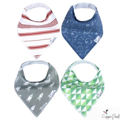 Copper Pearl 美國 阿波羅火箭雙面領巾圍兜口水巾4件組