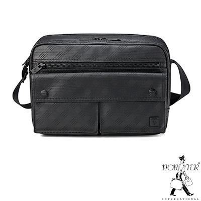 PORTER - 低調品格HUB中型雙層斜背包 - 黑