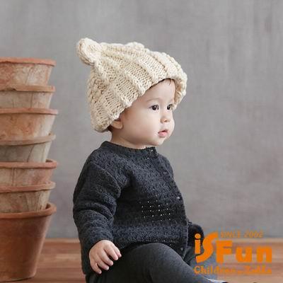 Decoy 摺耳貓咪 加厚編織兒童毛線帽 2色可選