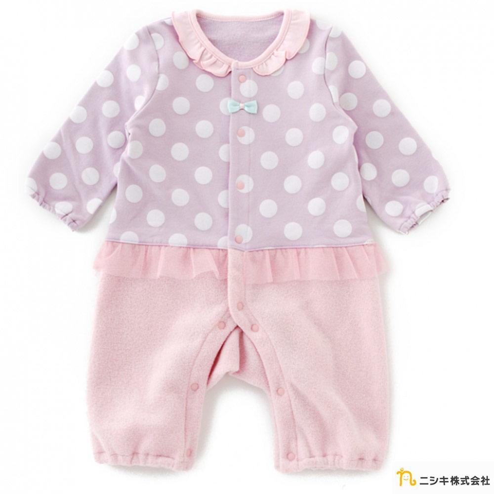 Nishiki 日本株式會社 粉紫點點拼接雪紡連身衣