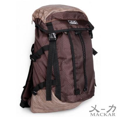 乂-力  旅行運動登山尼龍造型後背包(咖色)