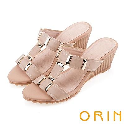 ORIN 簡約時尚潮流 牛皮中跟T字楔型涼拖鞋-米色