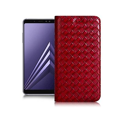 Xmart for Samsung A8+ 2018版 魔幻編織磁吸支架皮套