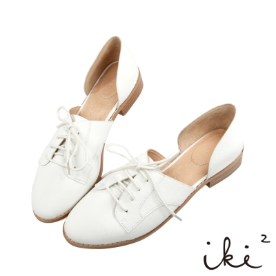 iki2-獨特真皮親膚平底休閒鞋-白