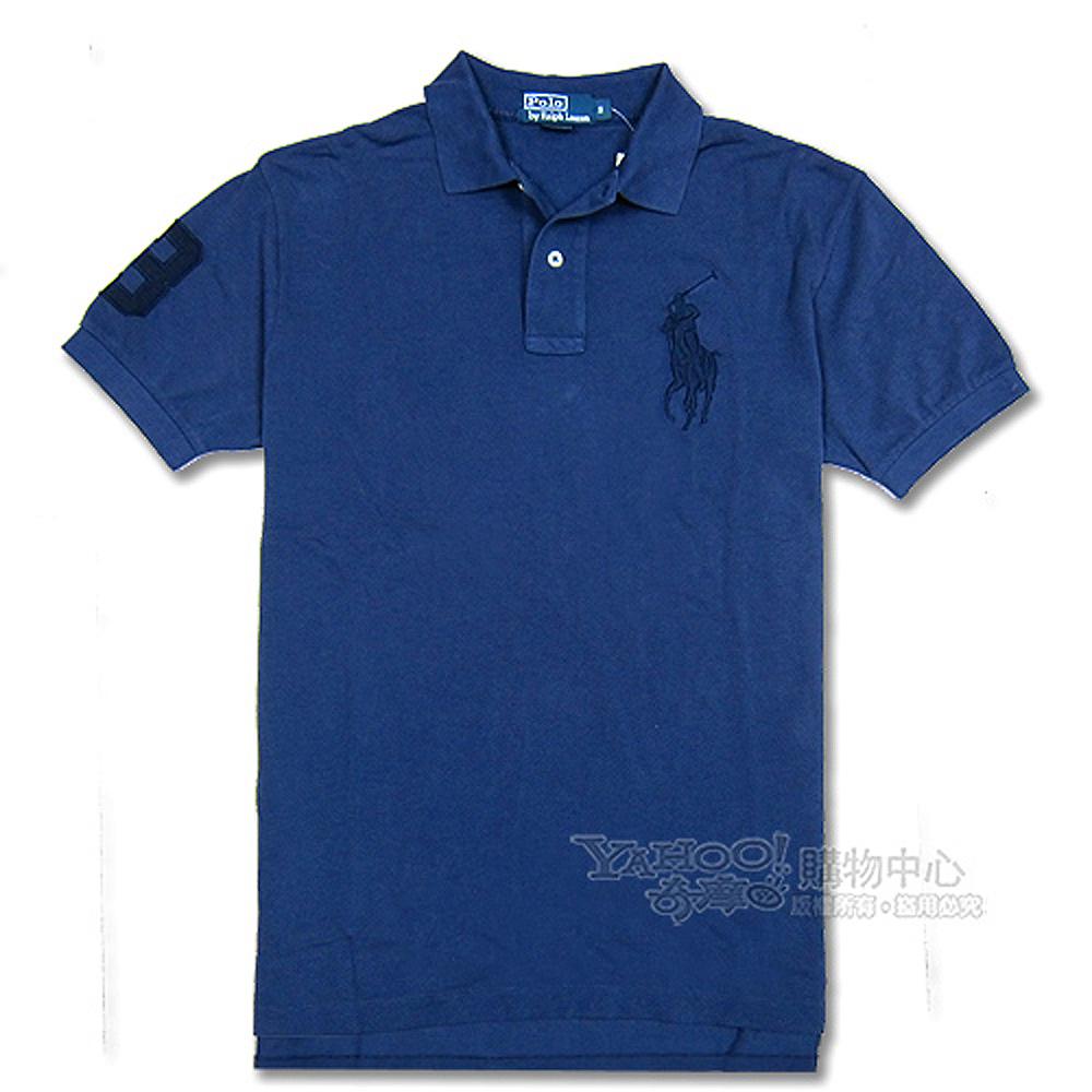 Ralph Lauren 經典大馬3號POLO寬版男衫(深藍)