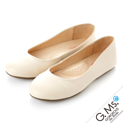 【G.Ms.】旅行女孩II‧素面全真皮可攜式軟Q娃娃鞋(附專屬鞋袋) ‧米白