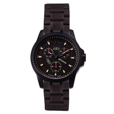 PICONO 時尚簡約全日曆手錶 - 經典魅力三眼日曆系列 - IP黑/ 40 mm