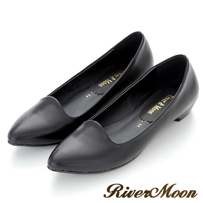 River-Moon台灣製素面修長顯瘦尖頭低跟鞋