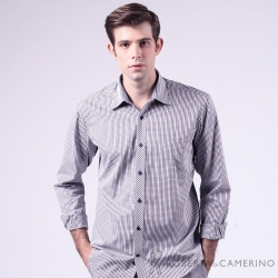 ROBERTA諾貝達 台灣製 魅力首選 陽光紳士格紋長袖襯衫 藍咖
