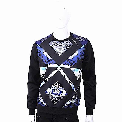 VERSACE 菱格幾何圖騰黑色棉質運動衫