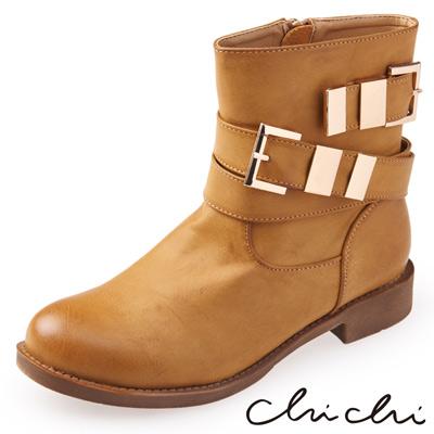 Chichi 俐落主打 擦色拉鍊雙側扣工程短靴*卡其色