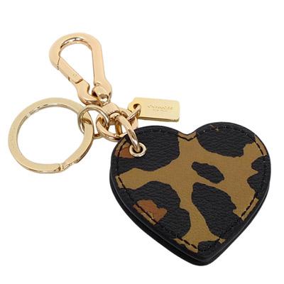 COACH-棕黑豹紋心型隨身鏡雙扣環鑰匙圈