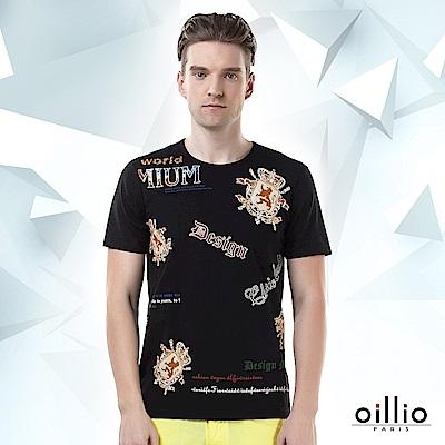 歐洲貴族oillio 短袖T恤 貴族印花 DESIGN印花 黑色