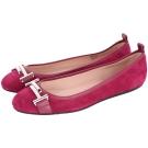 TOD'S 雙T LOGO拼接麂皮芭蕾舞鞋(莓紅色)