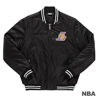 NBA-洛杉磯湖人隊背繡花合身版棒球外套-黑 (男)