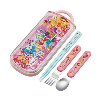 SKATER 迪士尼公主抽屜式餐具組(寶石徽章)