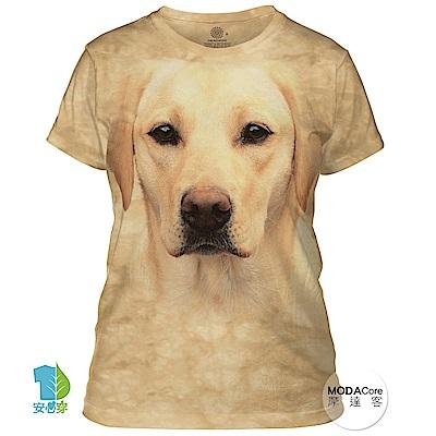 摩達客 美國進口The Mountain 黃拉不拉多犬臉 短袖女版T恤