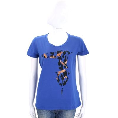 TRUSSARDI 藍色拼圖LOGO棉質短袖T恤