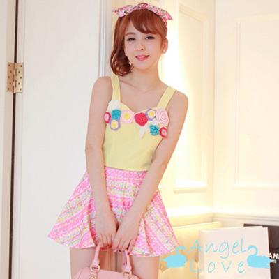 立體針織花朵吊帶上衣+A字格紋短裙 (黃色)-Angel Love