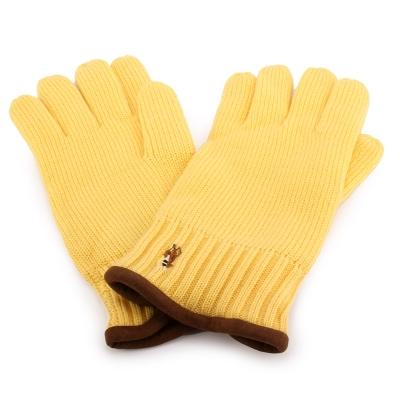 RALPH LAUREN POLO 麂皮飾邊小馬刺繡LOGO羊毛手套-鵝黃色