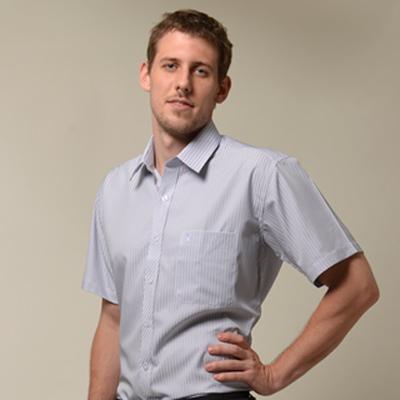 金‧安德森 藍色條紋門襟斜紋短袖襯衫