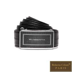 Roberta Colum - 紳士們沉穩碳纖自動金屬滑扣牛皮皮帶
