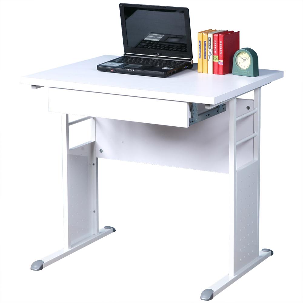 Homelike 巧思80x60辦公桌(附抽屜)-白桌面/亮白桌腳